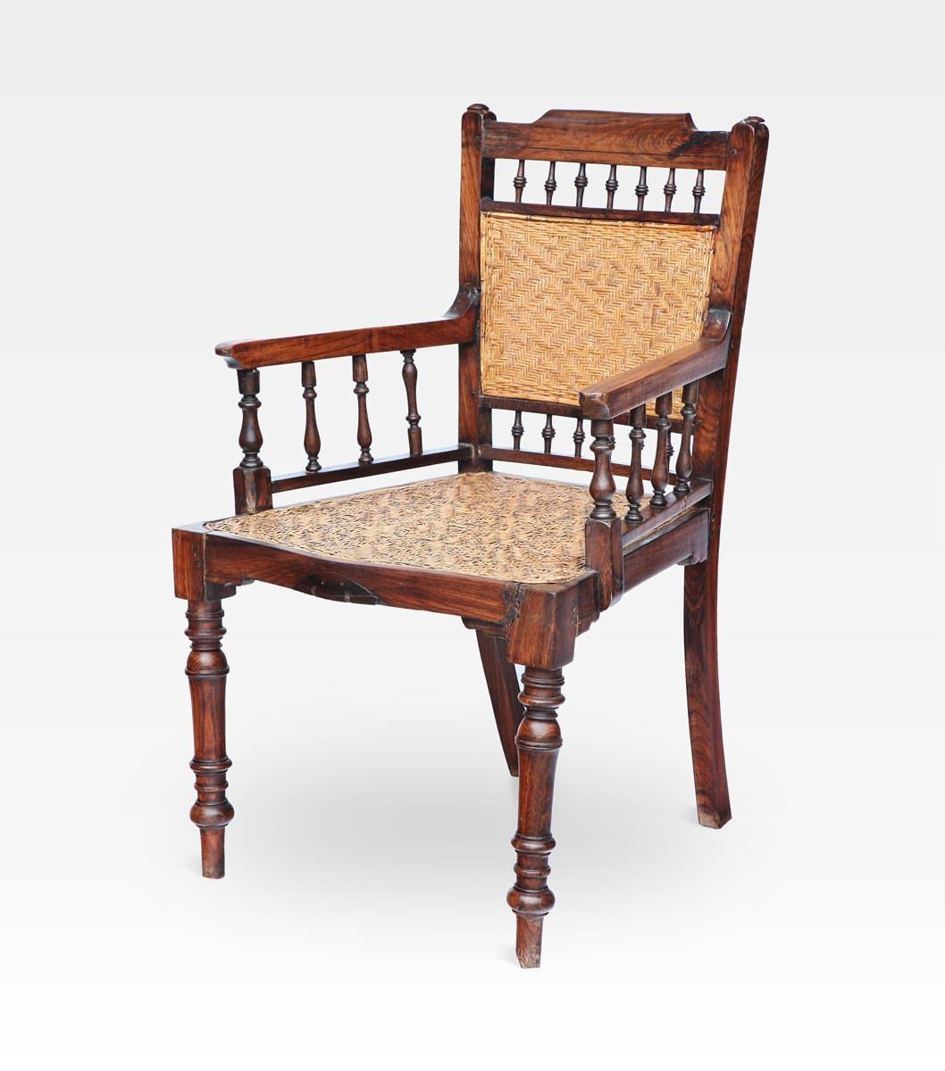 Sedia indiana coloniale intrecciata legno di teak cod - Sedia per camera da letto ...