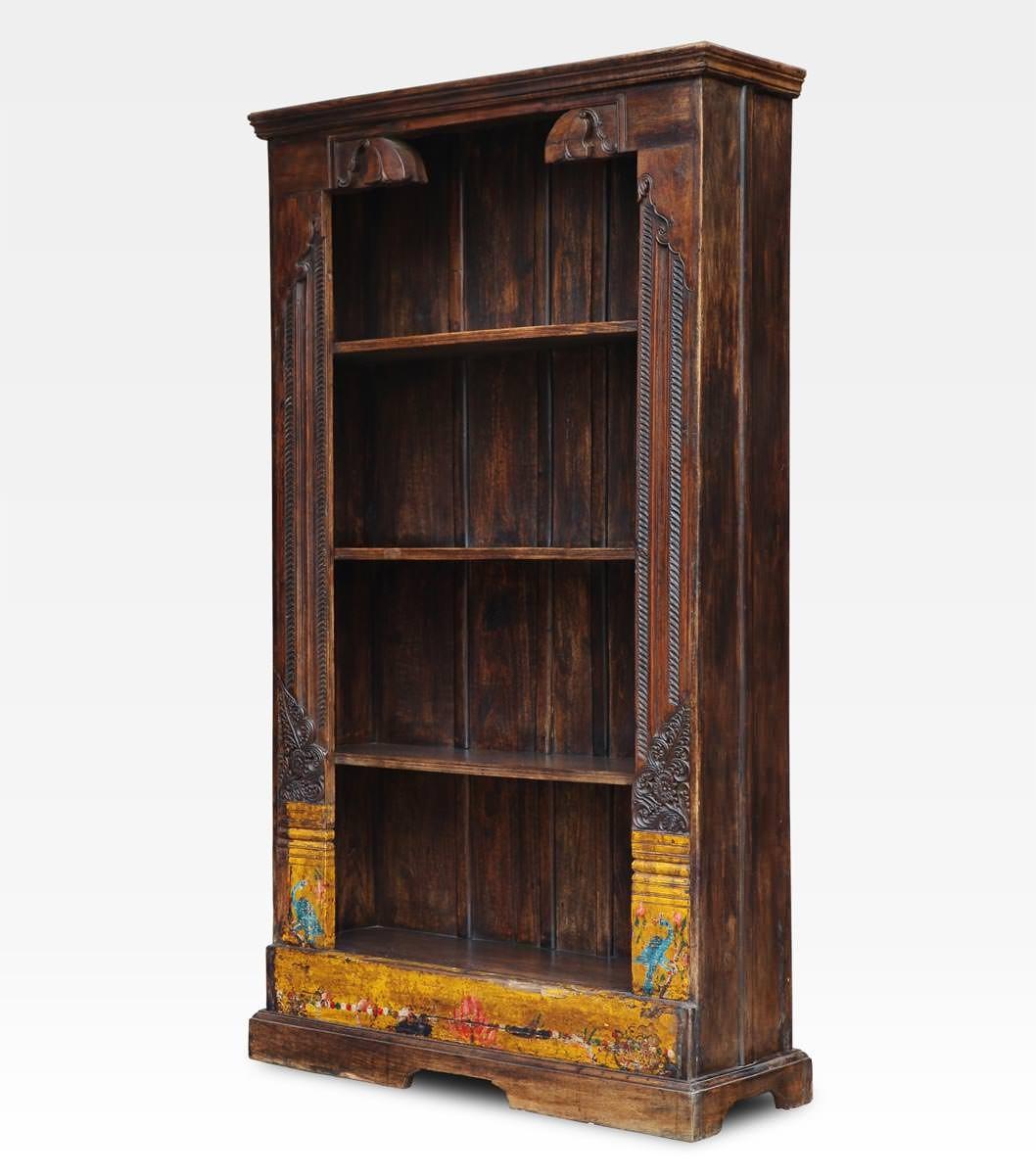 Libreria Antica In Legno.Libreria Indiana Dipinta E Intagliata In Legno Di Teak