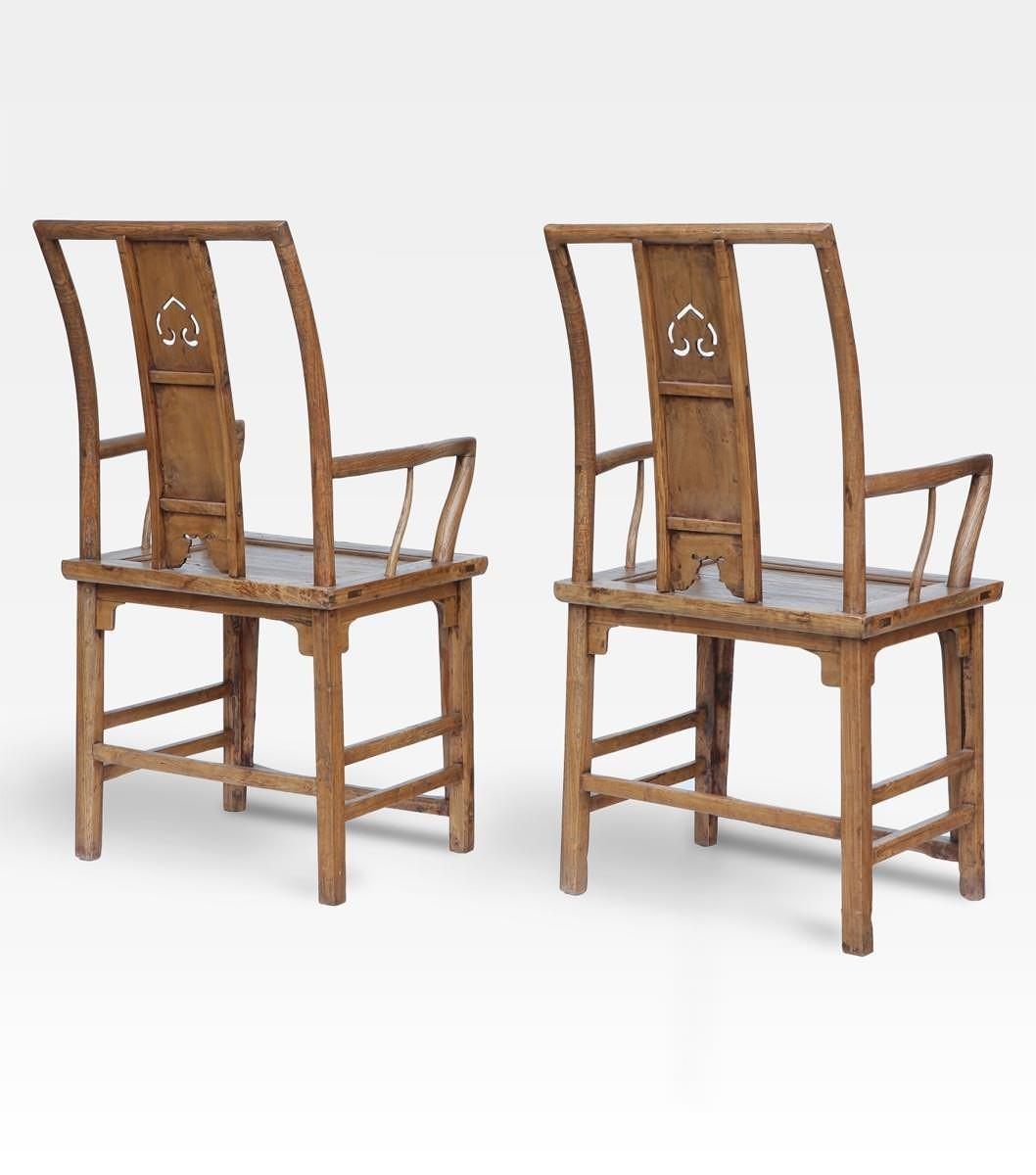 Coppia di sedie cinesi laccate - Legno di Olmo - Cod. 0008-0046 ...
