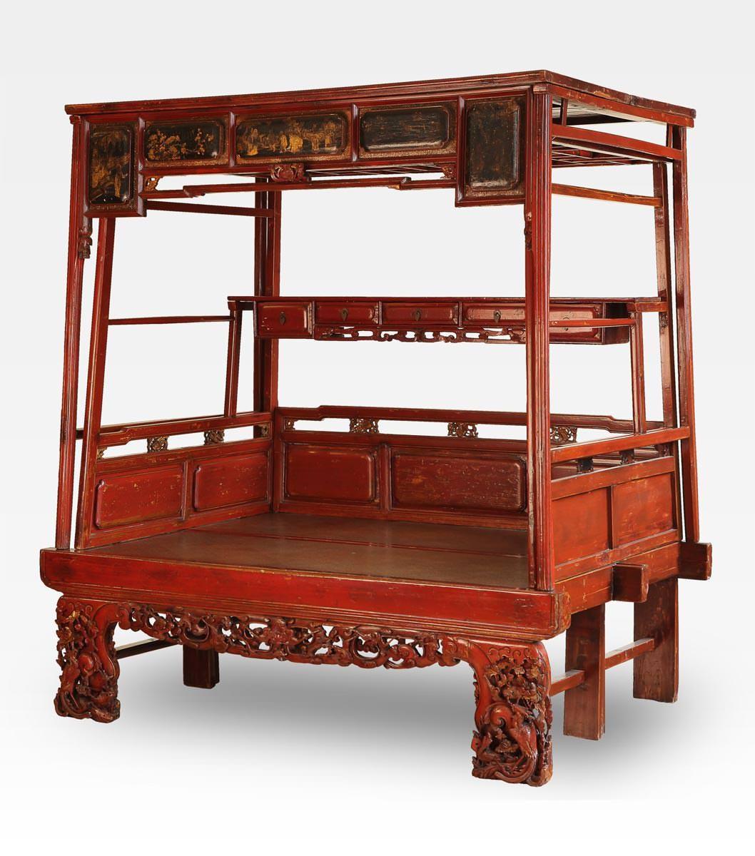 Letto cinese a baldacchino rosso intagliato legno di - Letto a baldacchino antico ...