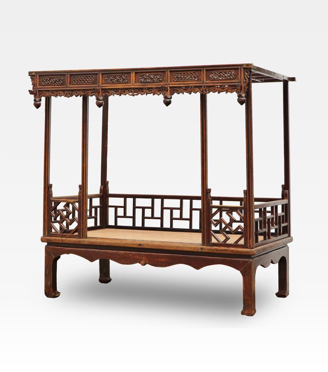 Letto cinese a baldacchino intagliato legno di olmo - Letto a baldacchino in legno ...