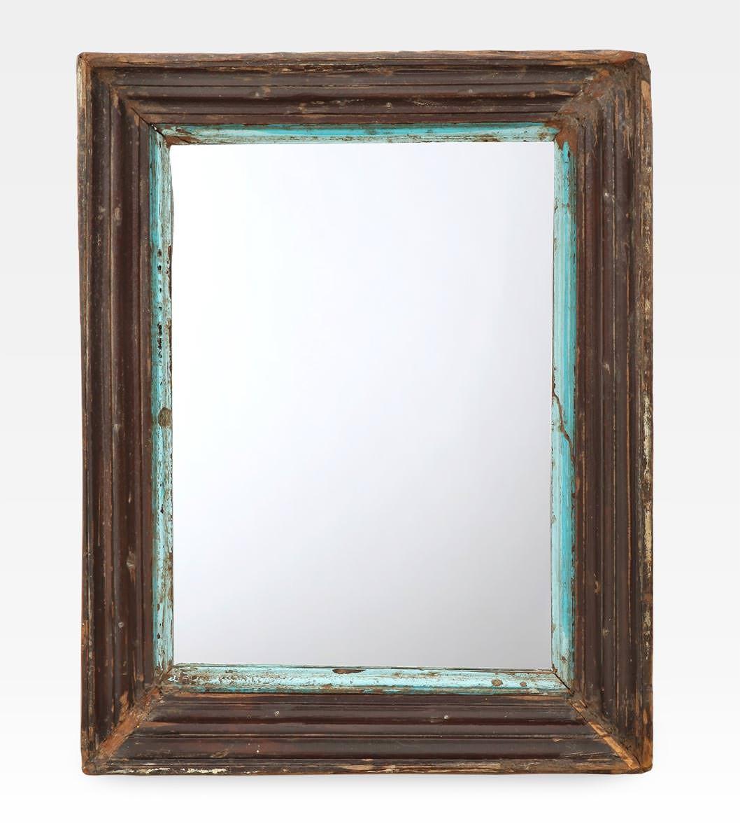 Specchiera indiana decapata legno di teak cod 0014 for Specchio rotondo antico