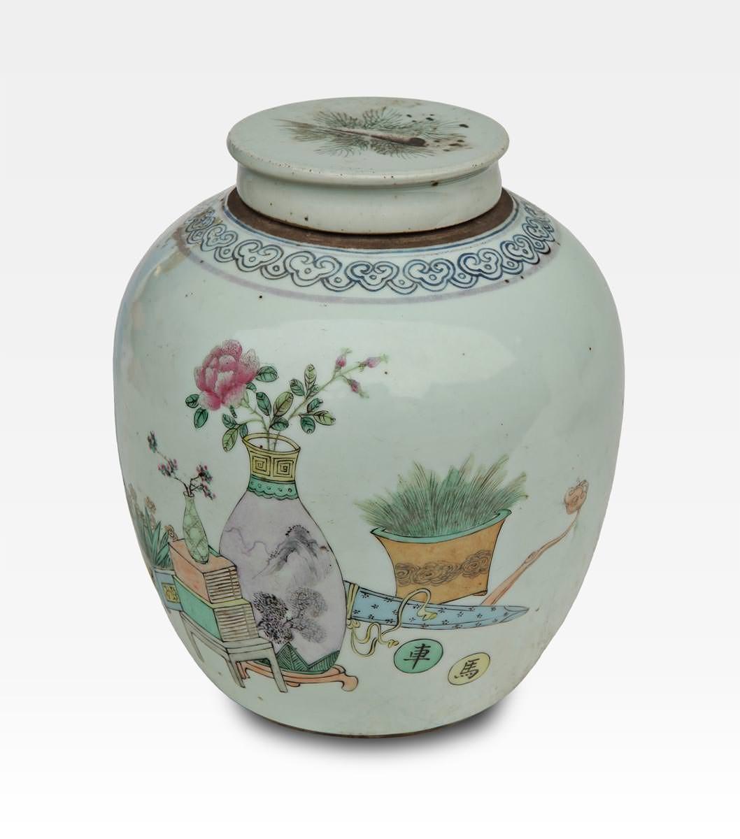 Vaso cinese dipinto con coperchio porcellana cod 0016 for Vaso di porcellana
