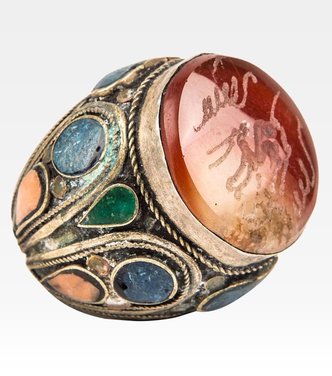 Conosciuto Anello afghano con lapislazzuli e corallo - Argento - Cod. 7000  MU38