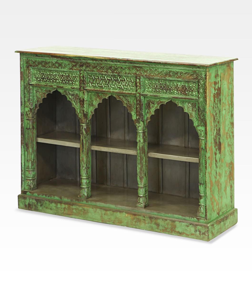 Libreria indiana verde decapata legno di mango 0022 0022 - Libreria verde ...