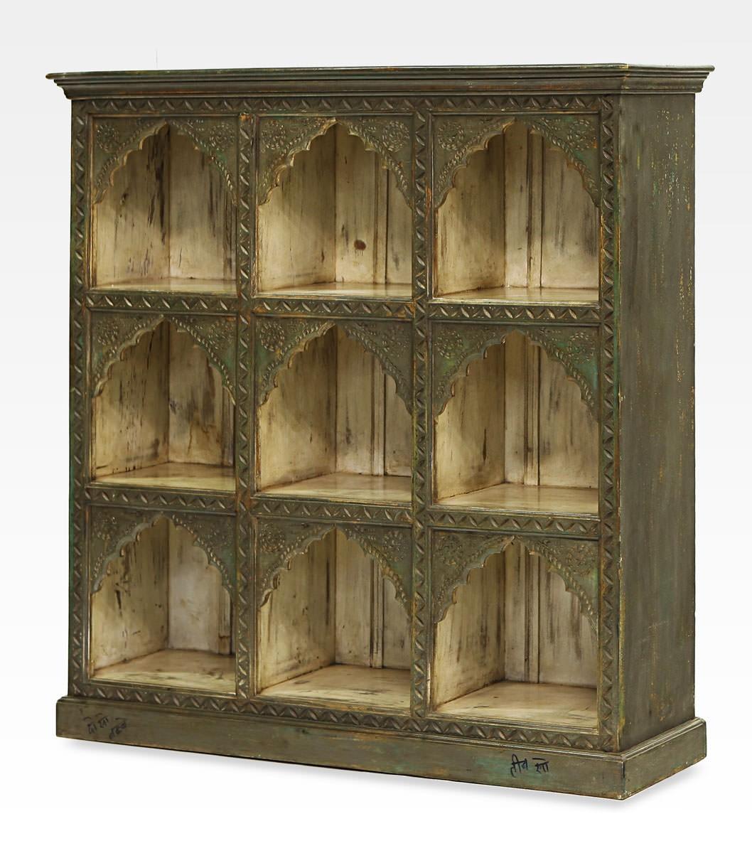 Libreria indiana verde a nove nicchie legno di mango 0022 0083 - Libreria verde ...