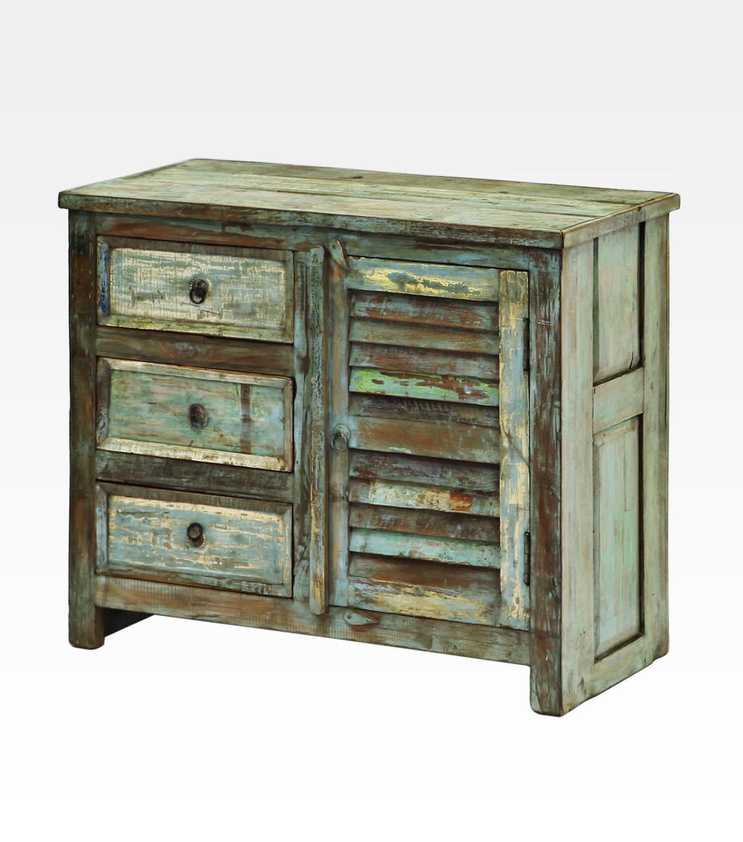 Finest mobiletto indiano decapato con cassetti in legno di - Come invecchiare un mobile ...