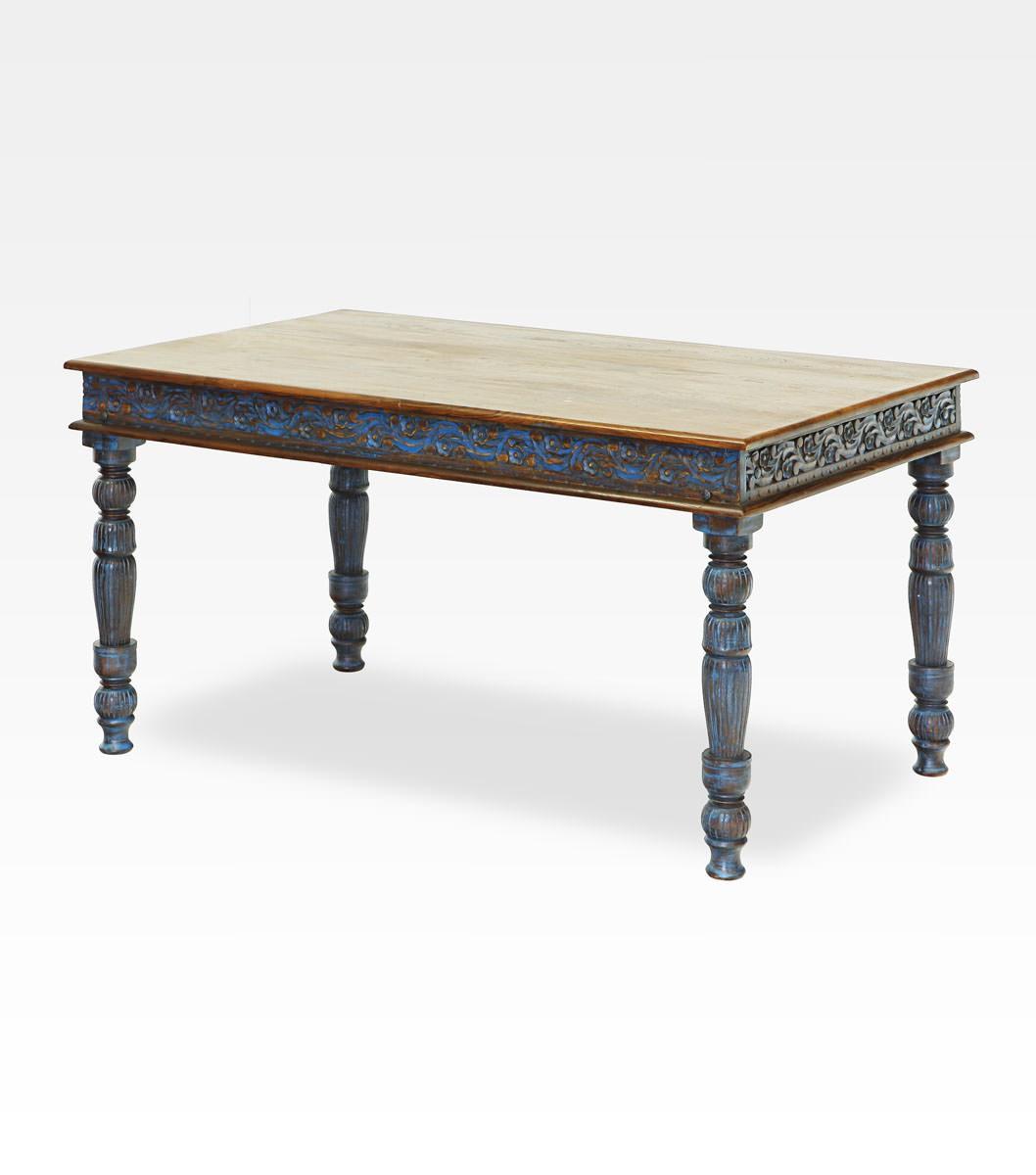 Tavolo indiano blu decapato e intagliato legno di mango 0022 0450 - Tavolo decapato ...