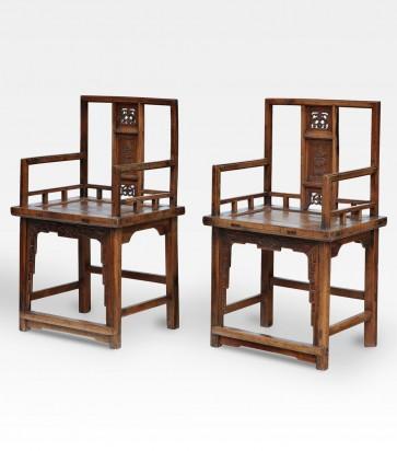 Poltrone cinesi in legno intagliato