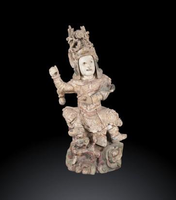 Antica scultura cinese raffigurante Guandì XVII secolo