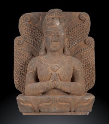 Antica scultura vietnamita raffigurante Lakshmi