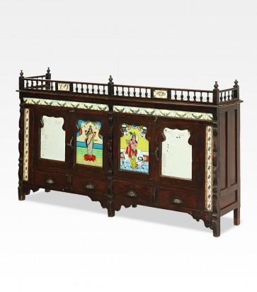 Credenza indiana coloniale dipinta in legno di teak - 01