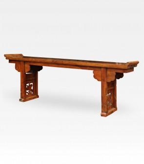 Consolle cinese laccata e intagliata in legno di catalpa