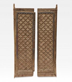 Porta indiana intarsiata in legno di teak