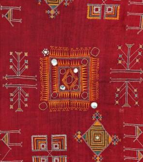 Scialle indiano etnia Rabary ricamato a mano in cotone