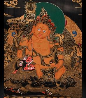 TangKa tibetano raffigurante Dzambhala