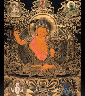 TangKa tibetano raffigurante Manjusri Arabazha