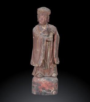 Scultura di giovane letterato cinese, lacca naturale, XIX secolo