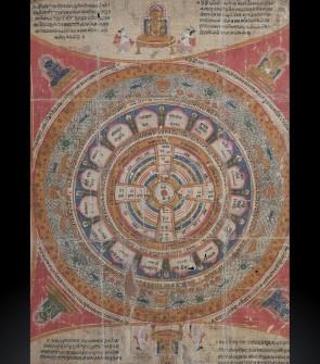 Antico dipinto Jain raffigurante l'origine del cosmo