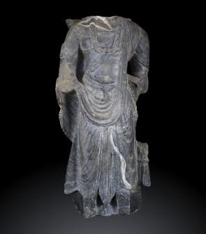 Bodhisattva - arte del Gandhara, scisto grigio