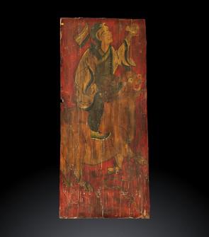 Tangka su legno raffigurante un guerriero