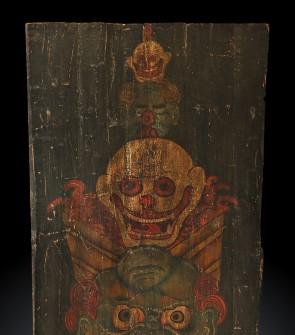 Tangka tibetano su legno raffigurante Hayagriva