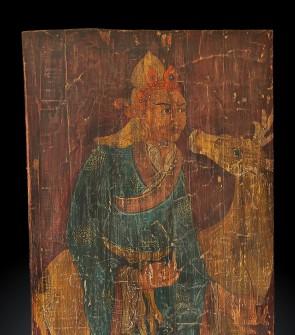 Dipinto tibetano su legno raffigurante Tara bianca