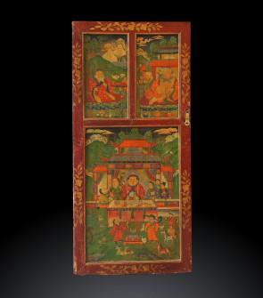 Antica porta dipinta a mano, Buddhismo cinese