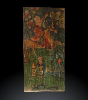 Tangka tibetano su legno raffigurante Tung Fang So