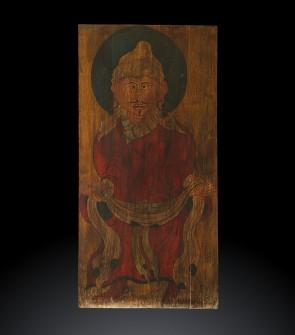 Tangka tibetano su legno raffigurante Padmasambava