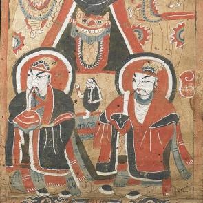 Dipinto antico cinese raffigurante monaci taoisti del gruppo etnico Yao.