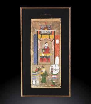 Dipinto antico cinese raffigurante scene di vita quotidiana del popolo Yao.