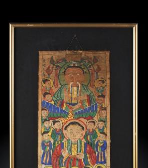 Antico dipinto cerimoniale su carta di riso, etnia Yao, XIX Secolo