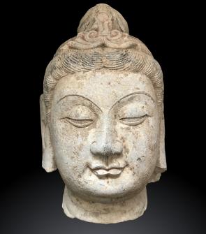 Testa in pietra antica Cina, Guanyin o Bodhisattva. fine XIX Sec. dinastia Qing  - (1644-1911)